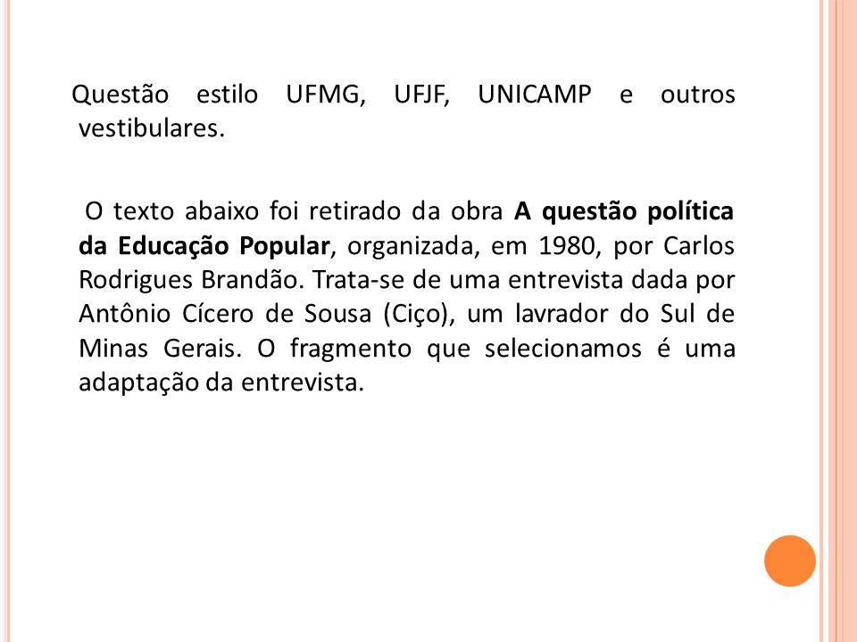 Questão estilo UFMG, UFJF, UNICAMP e outros vestibulares