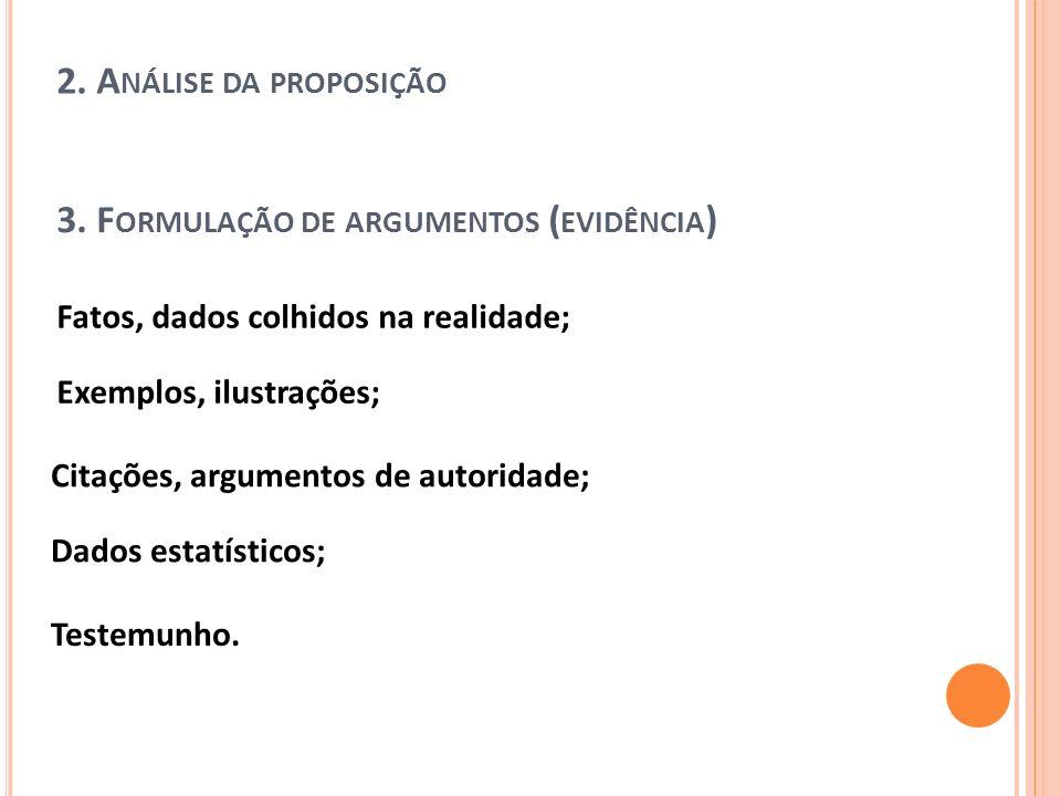3. Formulação de argumentos (evidência)