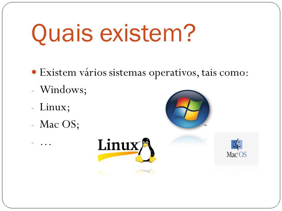 Quais existem Existem vários sistemas operativos, tais como: Windows;