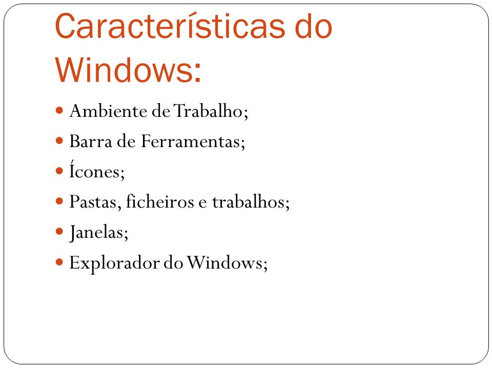Características do Windows: