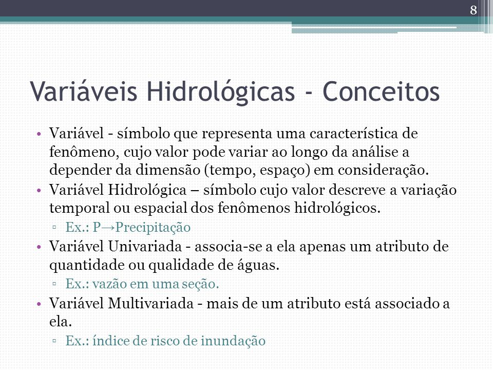 Variáveis Hidrológicas - Conceitos