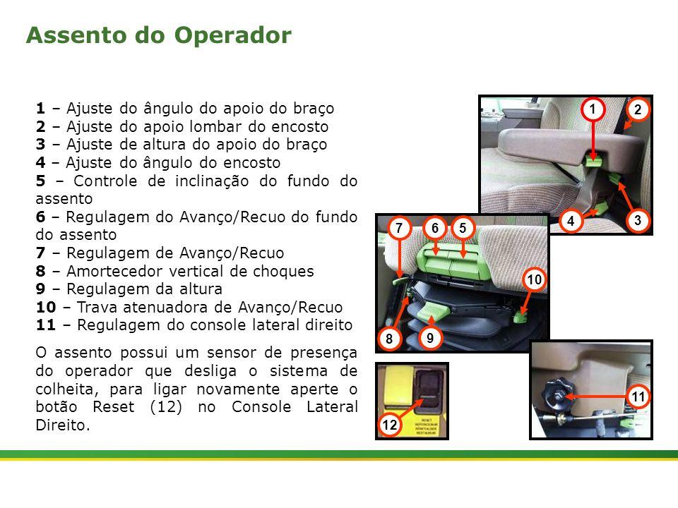 Assento do Operador 1 – Ajuste do ângulo do apoio do braço