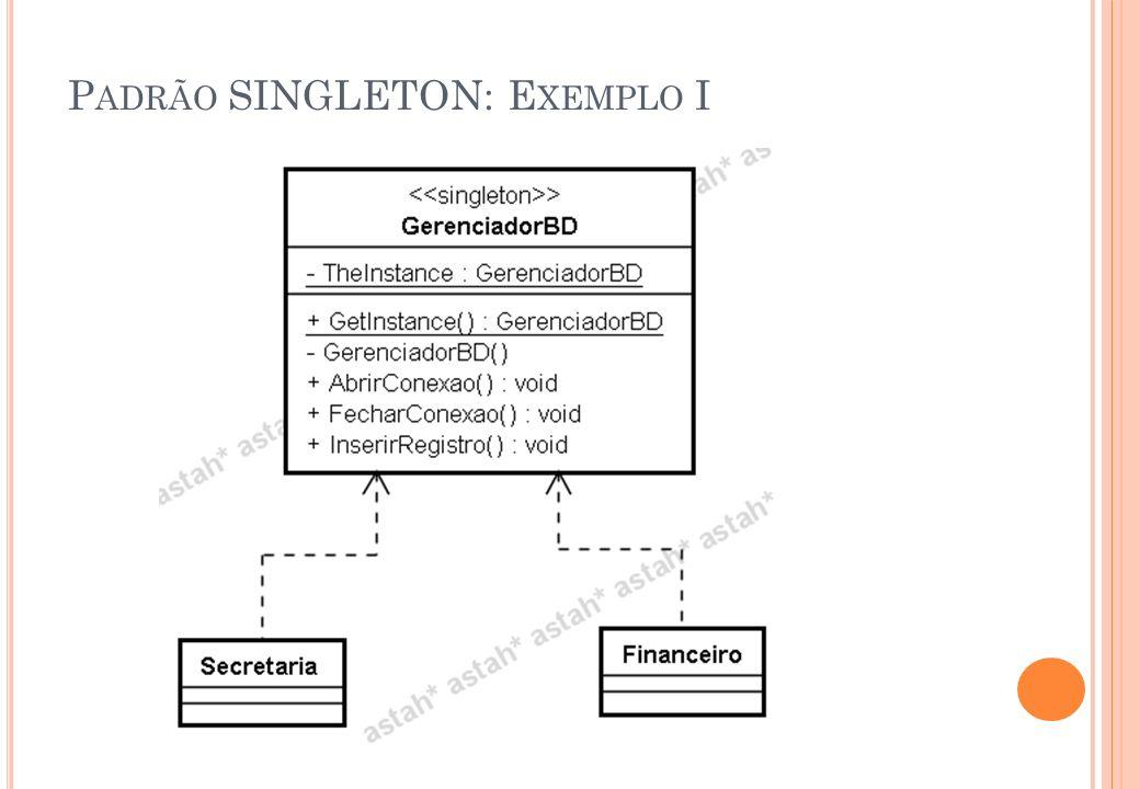 Padrão SINGLETON: Exemplo I