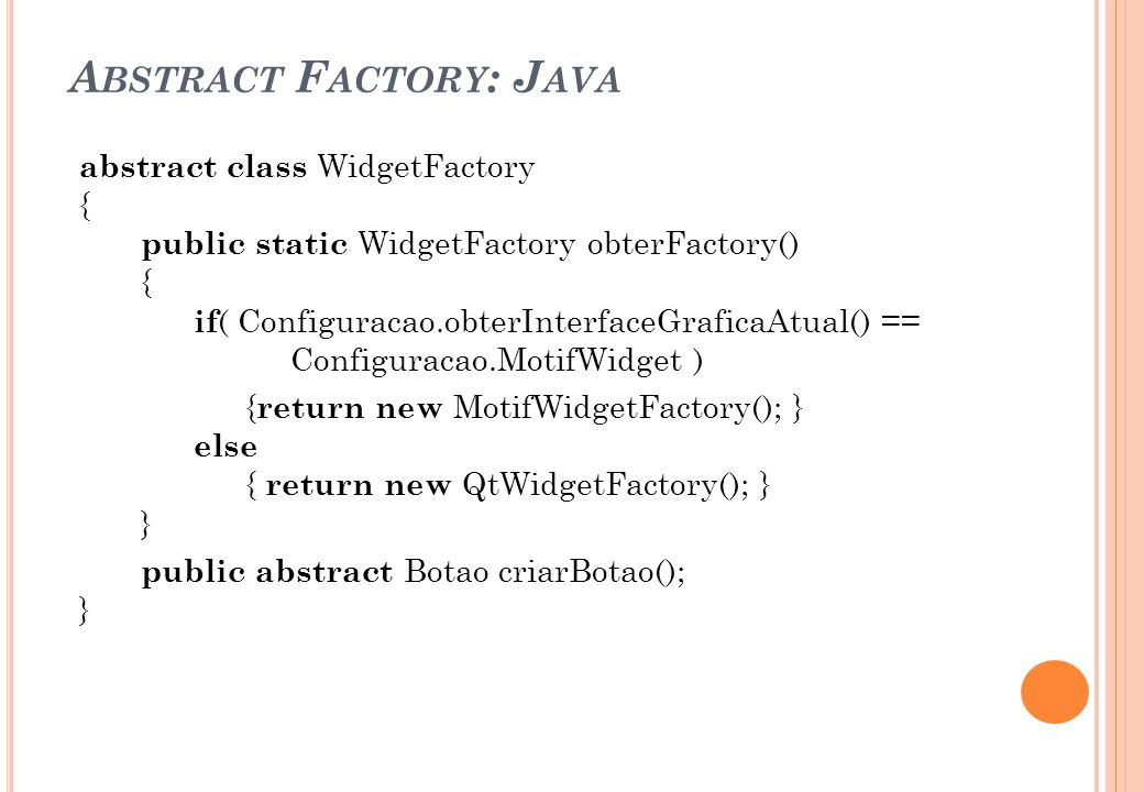 Abstract Factory: Java