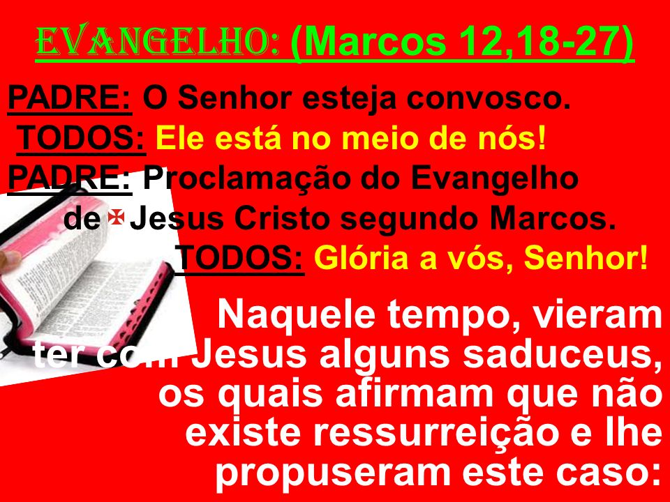 EVANGELHO: (Marcos 12,18-27) PADRE: O Senhor esteja convosco. TODOS: Ele está no meio de nós! PADRE: Proclamação do Evangelho.