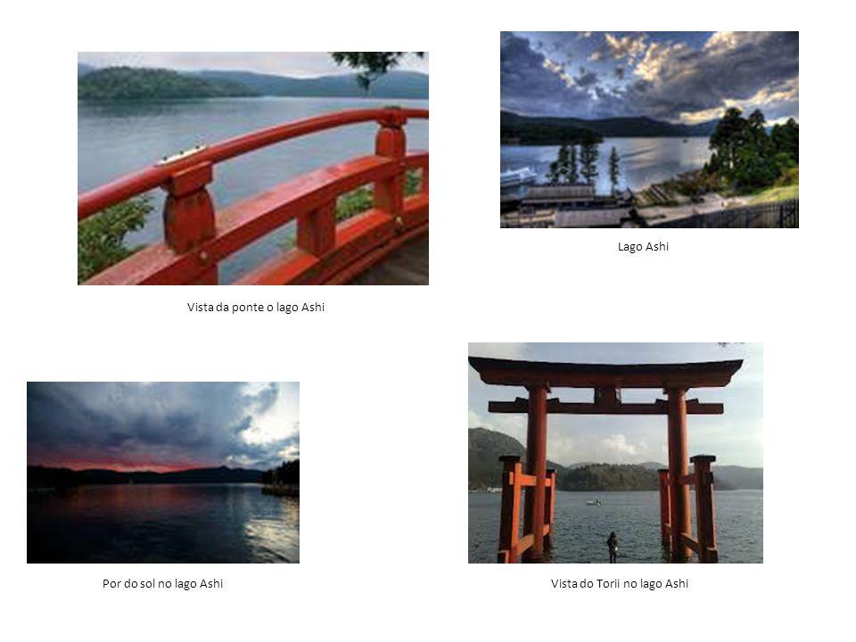Lago Ashi Vista da ponte o lago Ashi Por do sol no lago Ashi Vista do Torii no lago Ashi