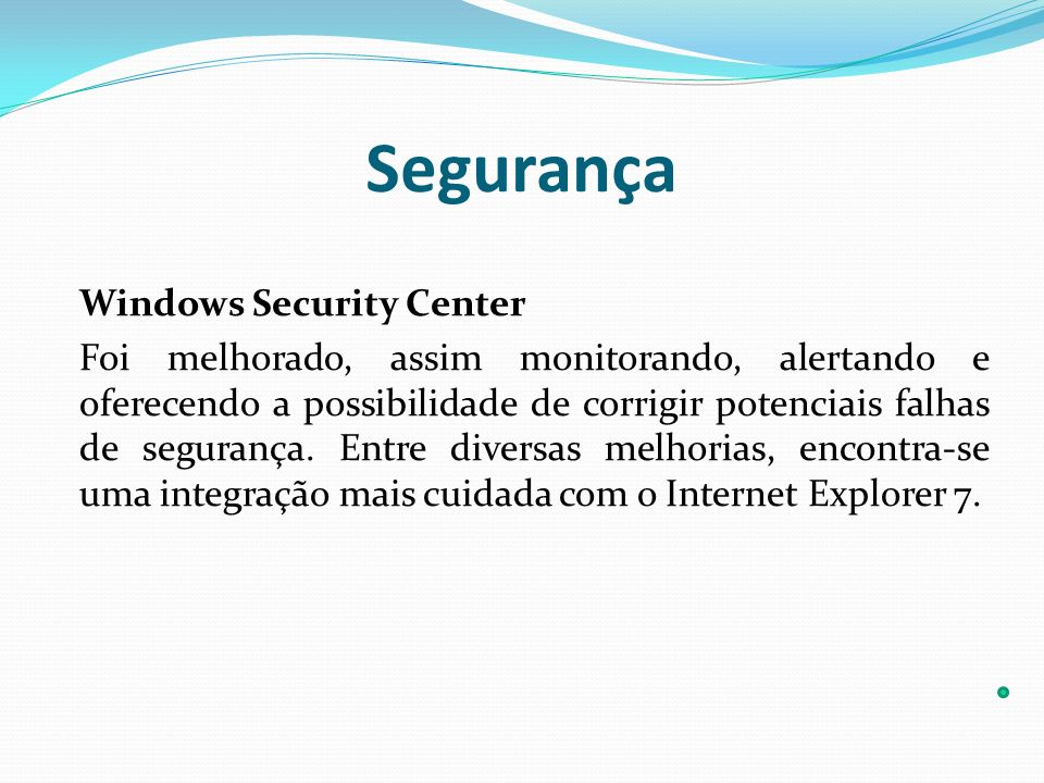 Segurança Windows Security Center