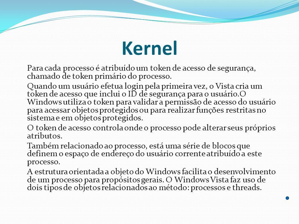 Kernel Para cada processo é atribuído um token de acesso de segurança, chamado de token primário do processo.