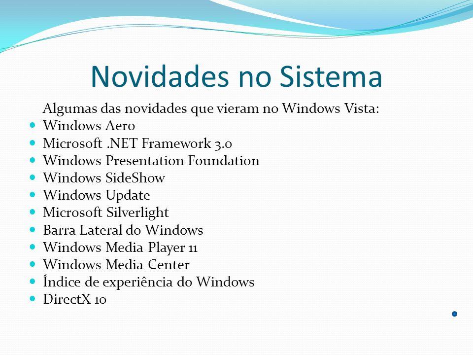 Novidades no Sistema Algumas das novidades que vieram no Windows Vista: Windows Aero. Microsoft .NET Framework 3.0.