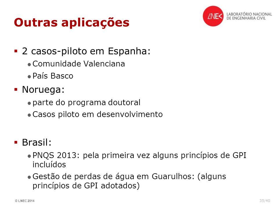 Outras aplicações 2 casos-piloto em Espanha: Noruega: Brasil: