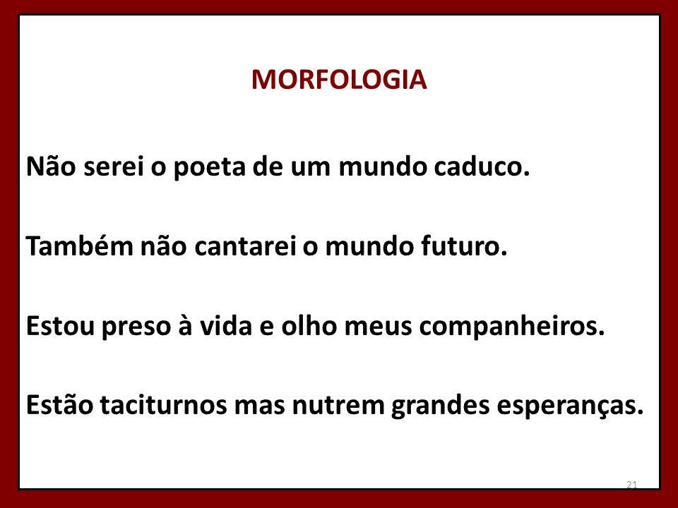 MORFOLOGIA Não serei o poeta de um mundo caduco