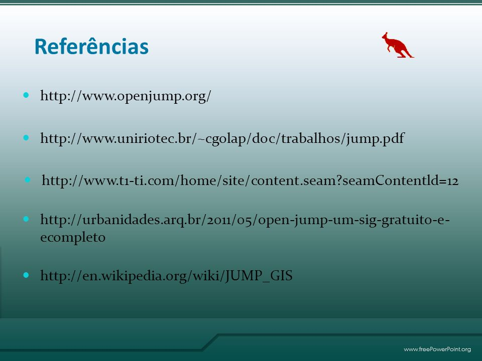 Referências http://www.openjump.org/