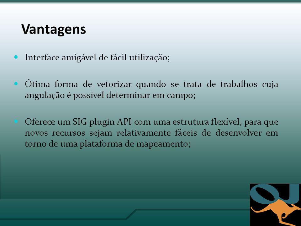 Vantagens Interface amigável de fácil utilização;
