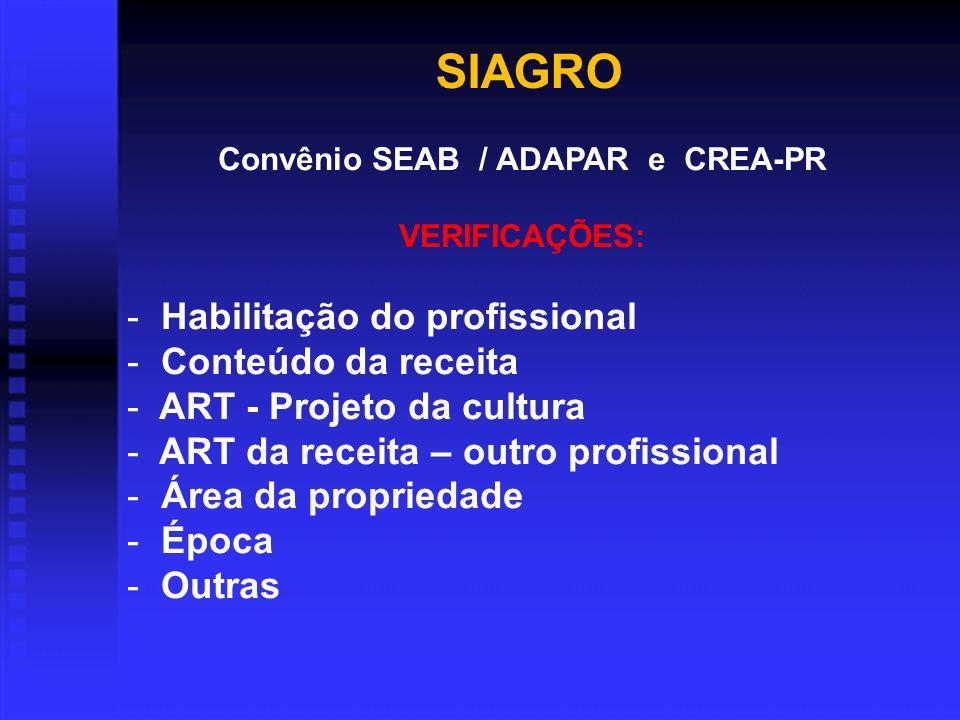 Convênio SEAB / ADAPAR e CREA-PR