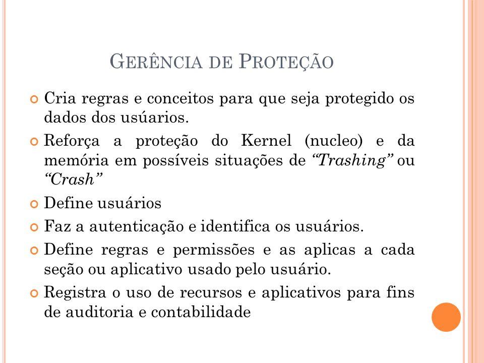 Gerência de Proteção Cria regras e conceitos para que seja protegido os dados dos usúarios.