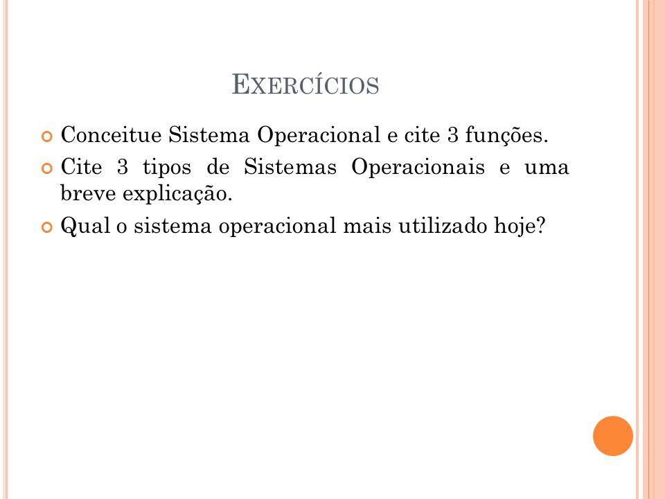 Exercícios Conceitue Sistema Operacional e cite 3 funções.