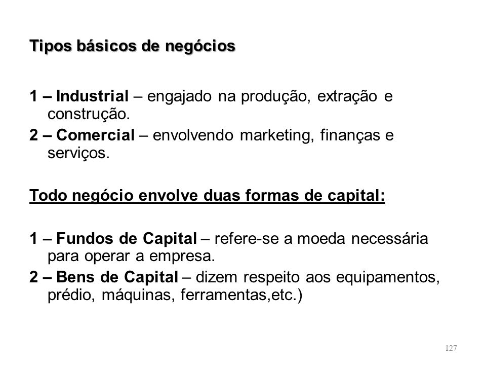 Tipos básicos de negócios