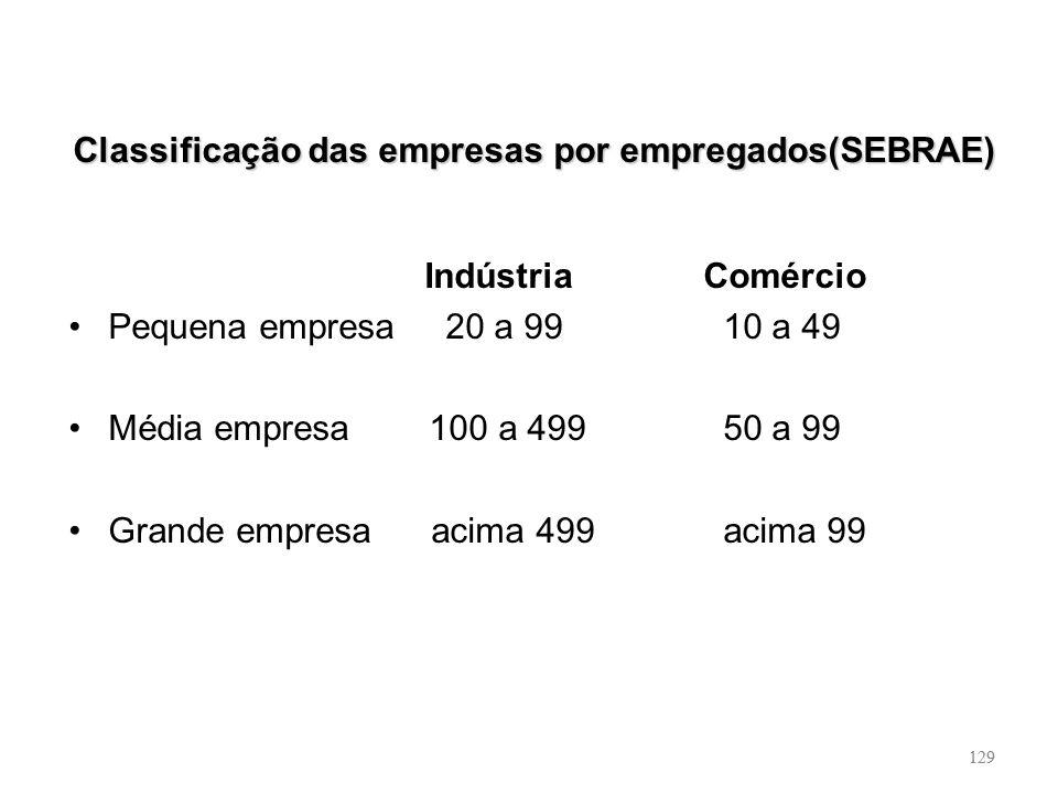 Classificação das empresas por empregados(SEBRAE)