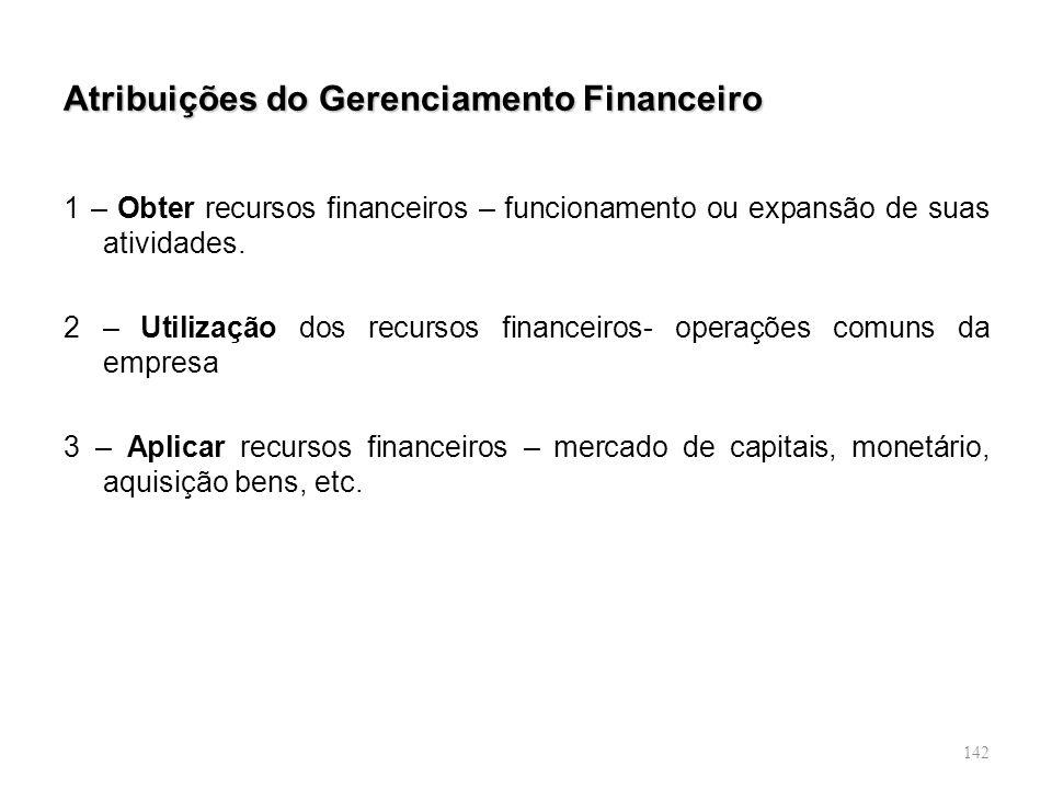 Atribuições do Gerenciamento Financeiro