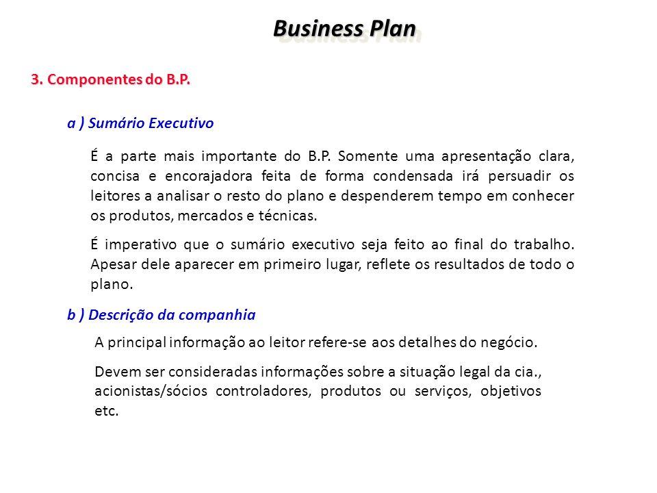 Business Plan 3. Componentes do B.P. a ) Sumário Executivo
