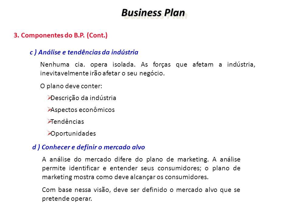 Business Plan 3. Componentes do B.P. (Cont.)