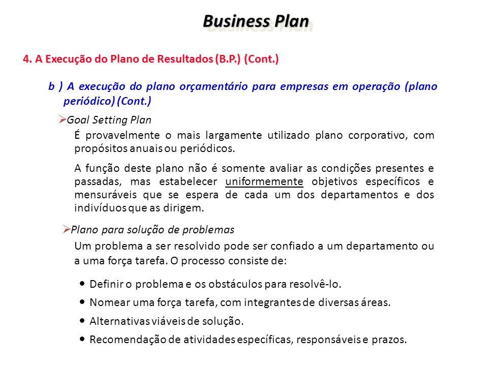 Business Plan 4. A Execução do Plano de Resultados (B.P.) (Cont.)