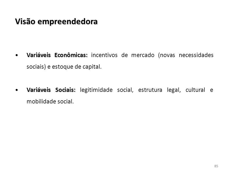 Visão empreendedora Variáveis Econômicas: incentivos de mercado (novas necessidades sociais) e estoque de capital.