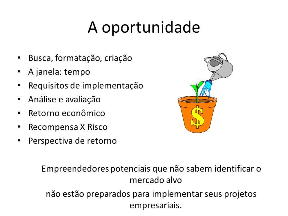 A oportunidade Busca, formatação, criação A janela: tempo