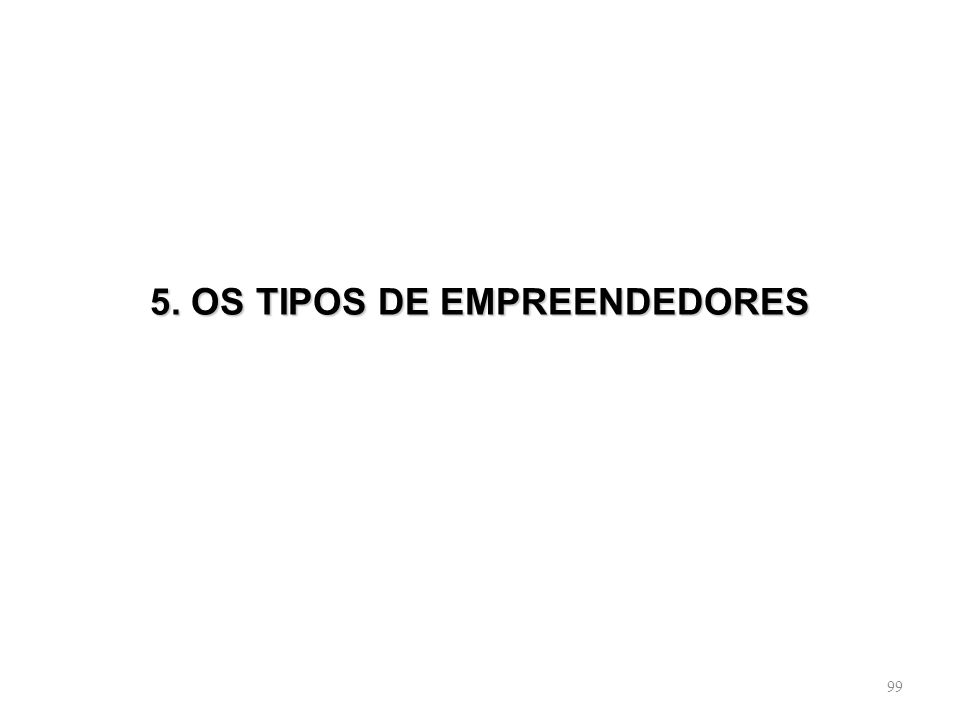 5. OS TIPOS DE EMPREENDEDORES