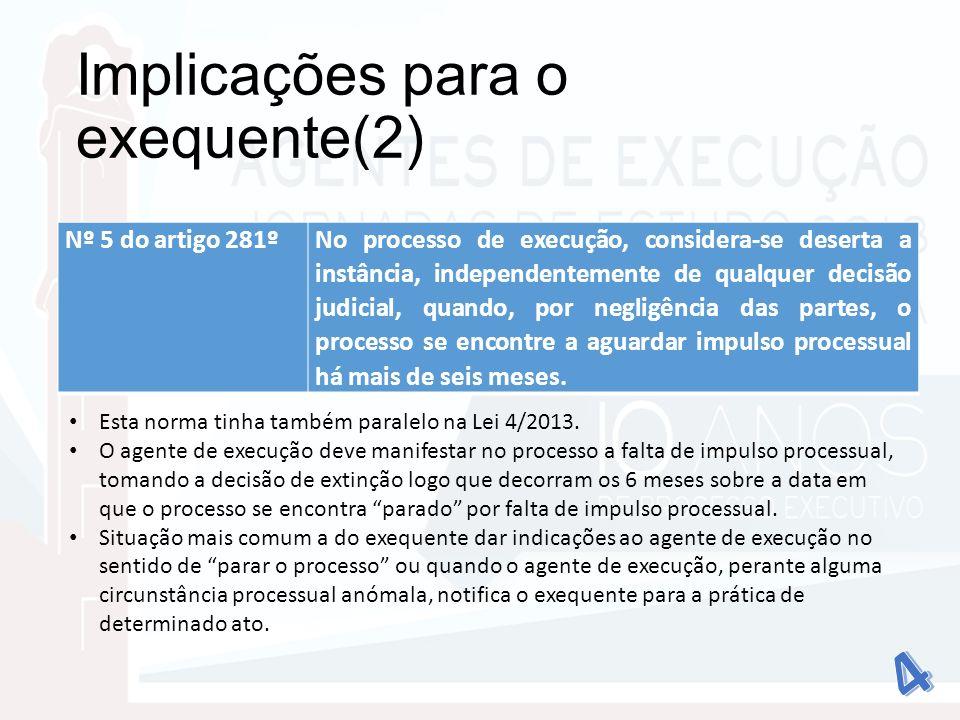 Implicações para o exequente(2)