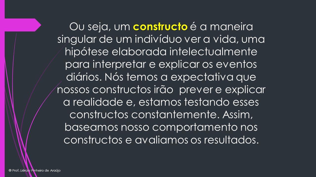 Ou seja, um constructo é a maneira singular de um indivíduo ver a vida, uma hipótese elaborada intelectualmente para interpretar e explicar os eventos diários.