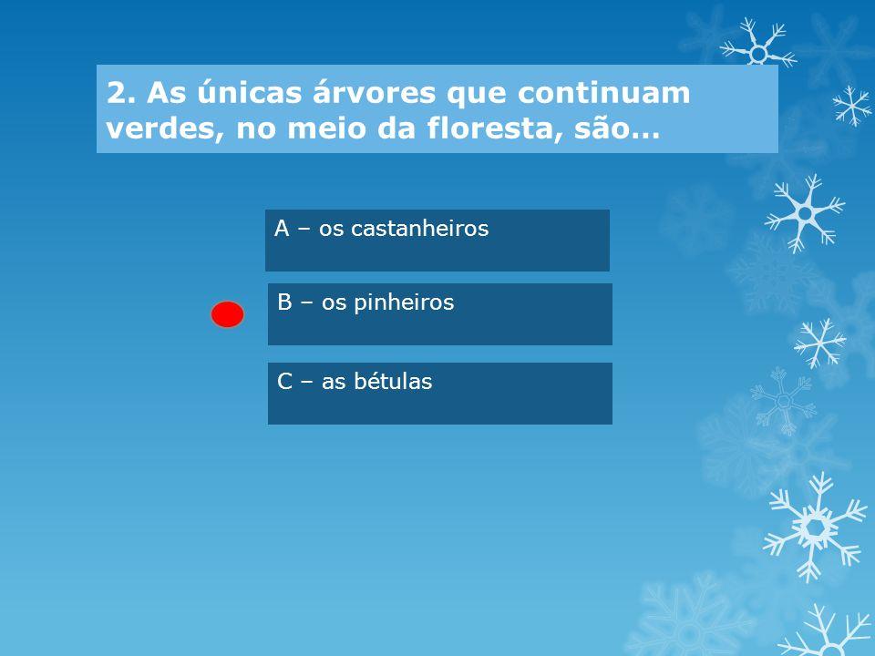 2. As únicas árvores que continuam verdes, no meio da floresta, são…