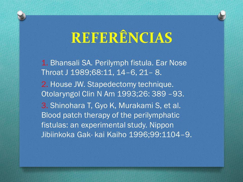 REFERÊNCIAS 1. Bhansali SA. Perilymph fistula. Ear Nose Throat J 1989;68:11, 14–6, 21– 8.