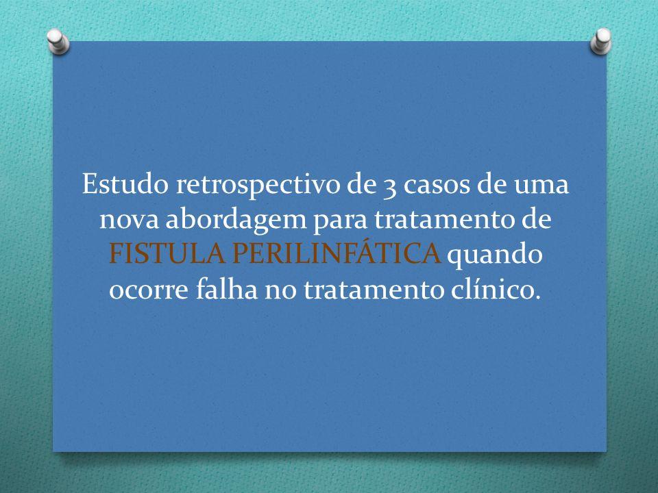 Estudo retrospectivo de 3 casos de uma nova abordagem para tratamento de FISTULA PERILINFÁTICA quando ocorre falha no tratamento clínico.