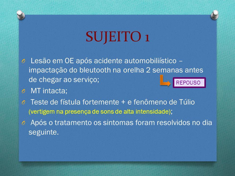 SUJEITO 1 Lesão em OE após acidente automobiliístico – impactação do bleutooth na orelha 2 semanas antes de chegar ao serviço;