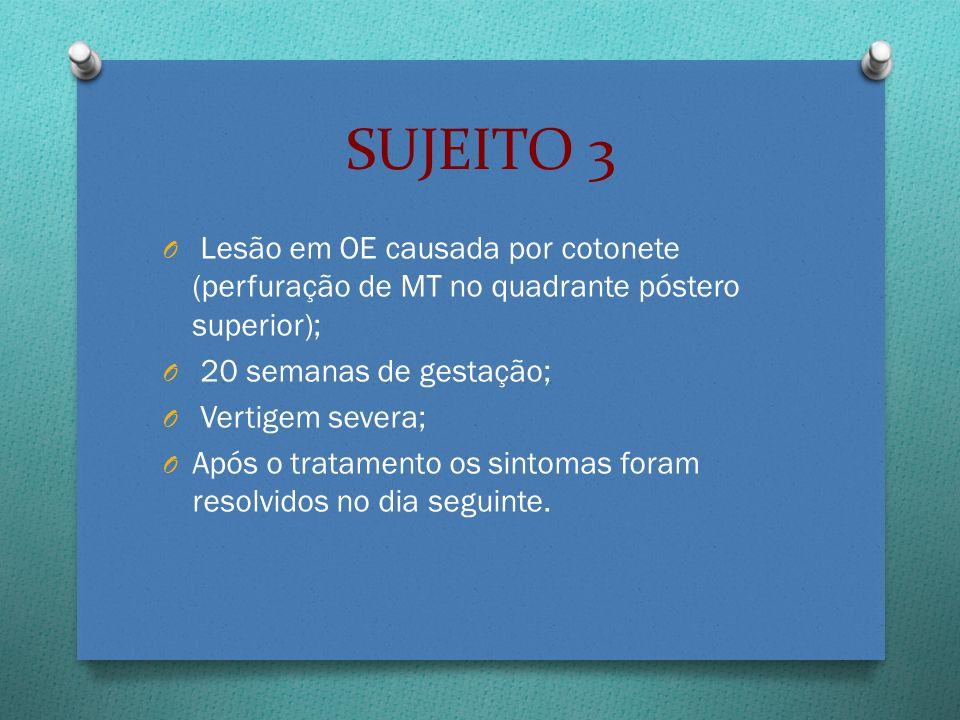 SUJEITO 3 Lesão em OE causada por cotonete (perfuração de MT no quadrante póstero superior); 20 semanas de gestação;