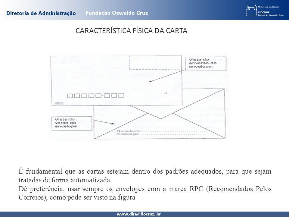 CARACTERÍSTICA FÍSICA DA CARTA