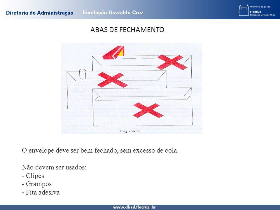 ABAS DE FECHAMENTO O envelope deve ser bem fechado, sem excesso de cola. Não devem ser usados: - Clipes.