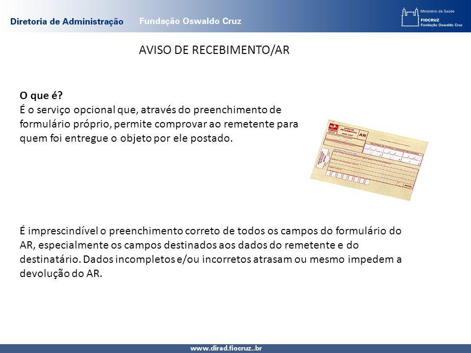 AVISO DE RECEBIMENTO/AR