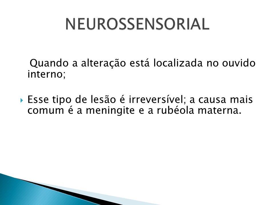 NEUROSSENSORIAL Quando a alteração está localizada no ouvido interno;