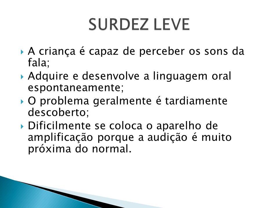 SURDEZ LEVE A criança é capaz de perceber os sons da fala;