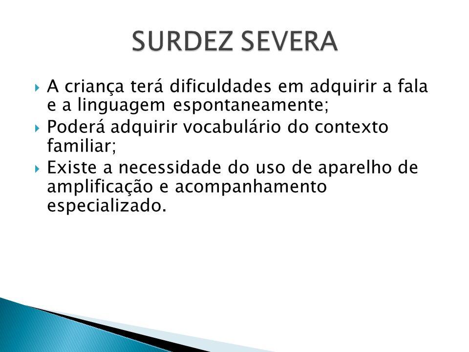 SURDEZ SEVERA A criança terá dificuldades em adquirir a fala e a linguagem espontaneamente; Poderá adquirir vocabulário do contexto familiar;