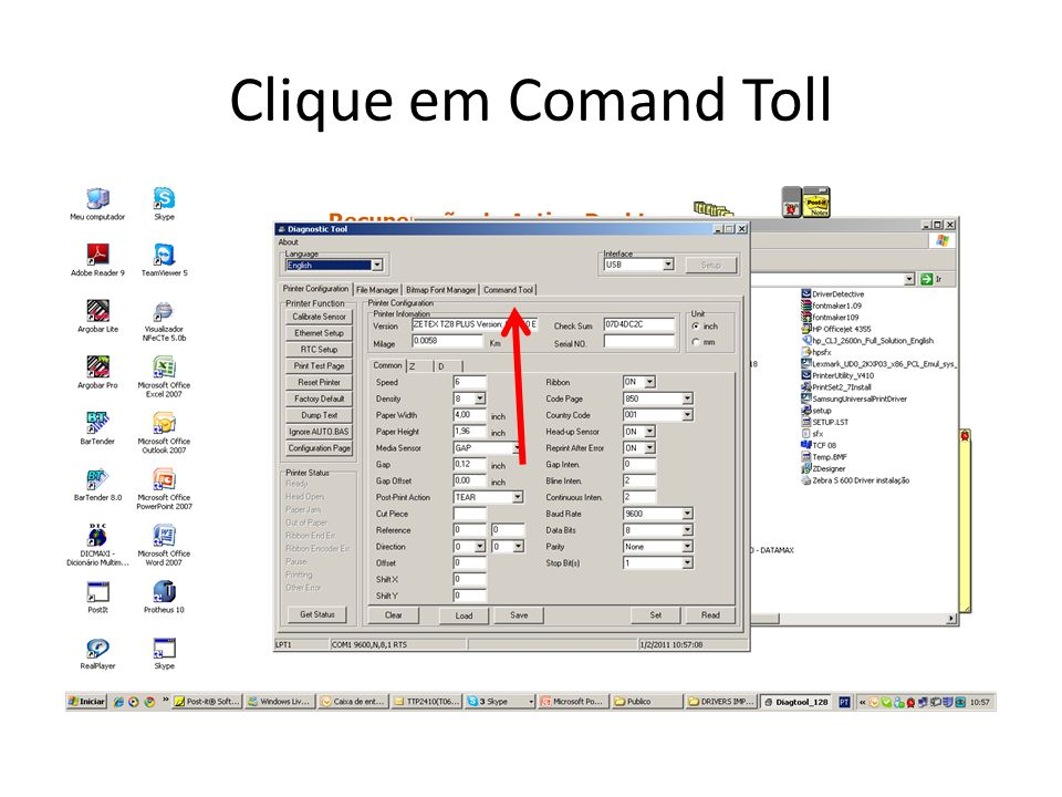 Clique em Comand Toll
