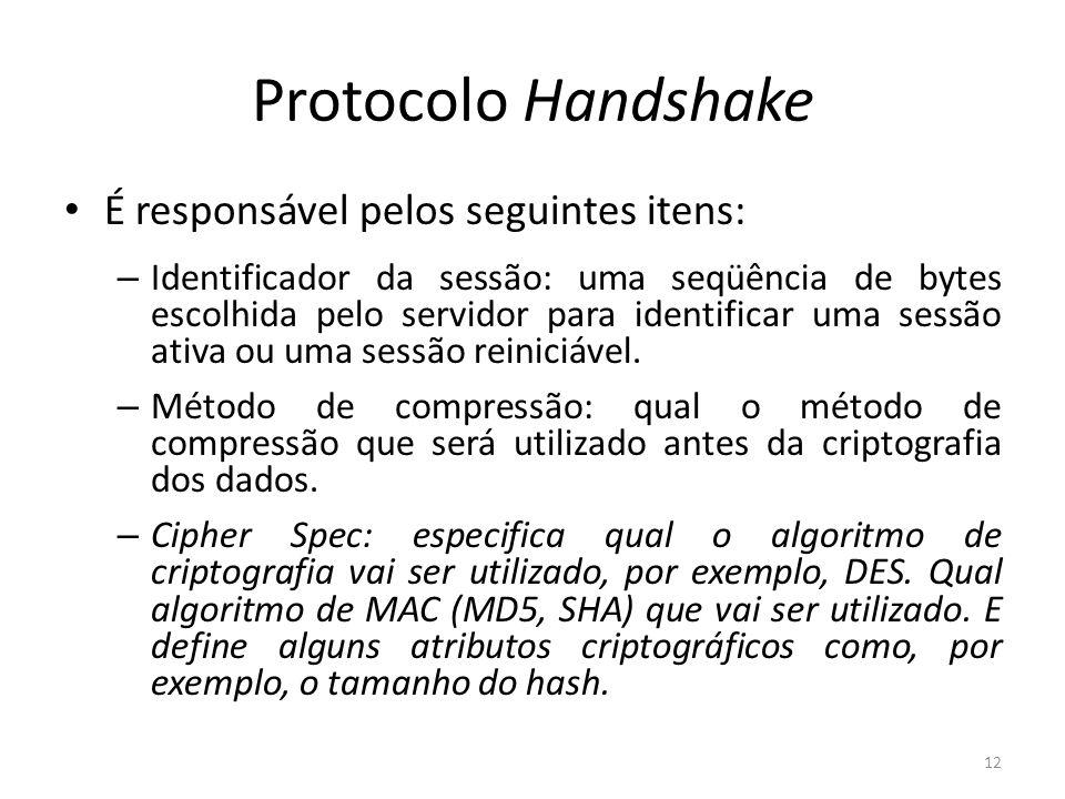 Protocolo Handshake É responsável pelos seguintes itens: