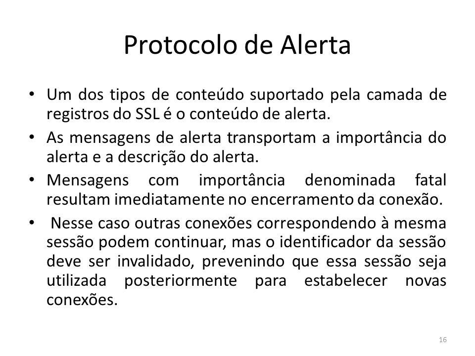 Protocolo de Alerta Um dos tipos de conteúdo suportado pela camada de registros do SSL é o conteúdo de alerta.