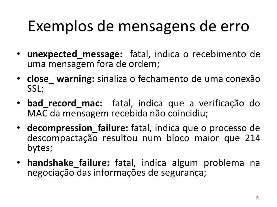 Exemplos de mensagens de erro
