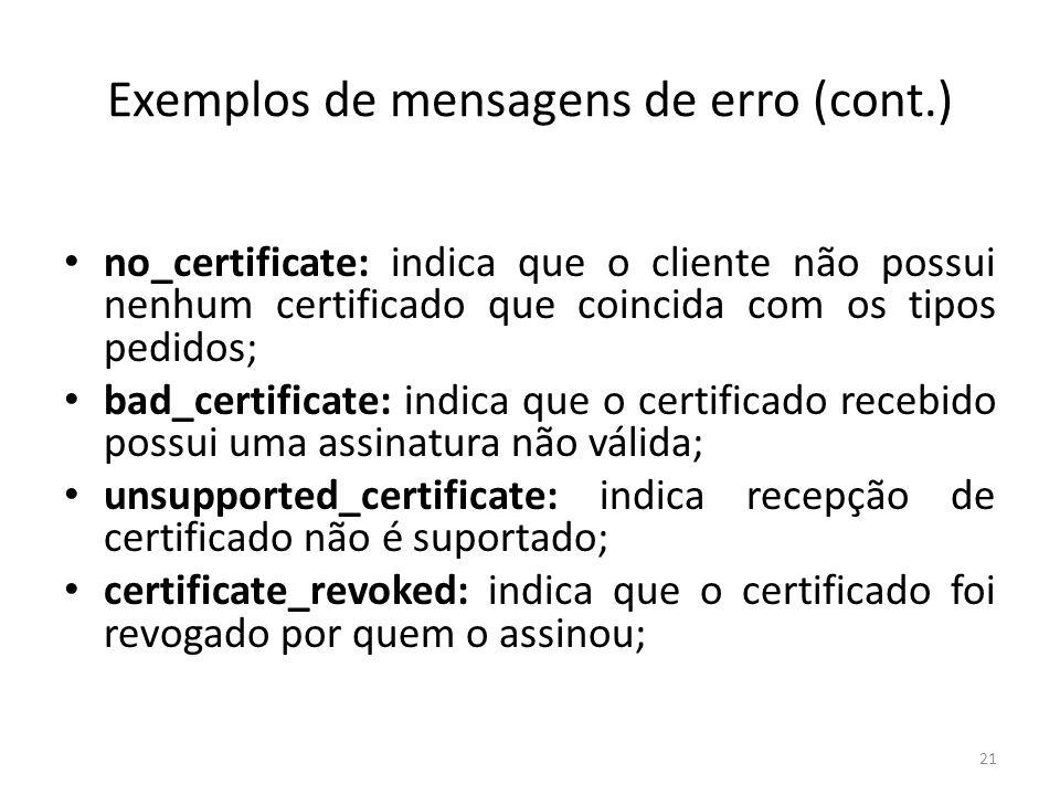 Exemplos de mensagens de erro (cont.)