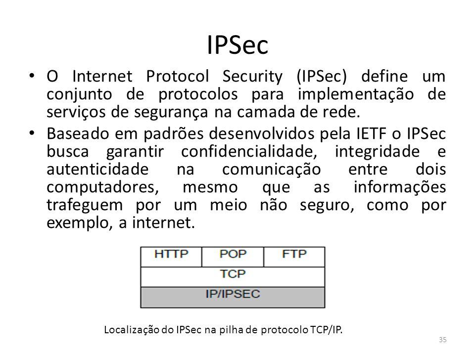 IPSecO Internet Protocol Security (IPSec) define um conjunto de protocolos para implementação de serviços de segurança na camada de rede.