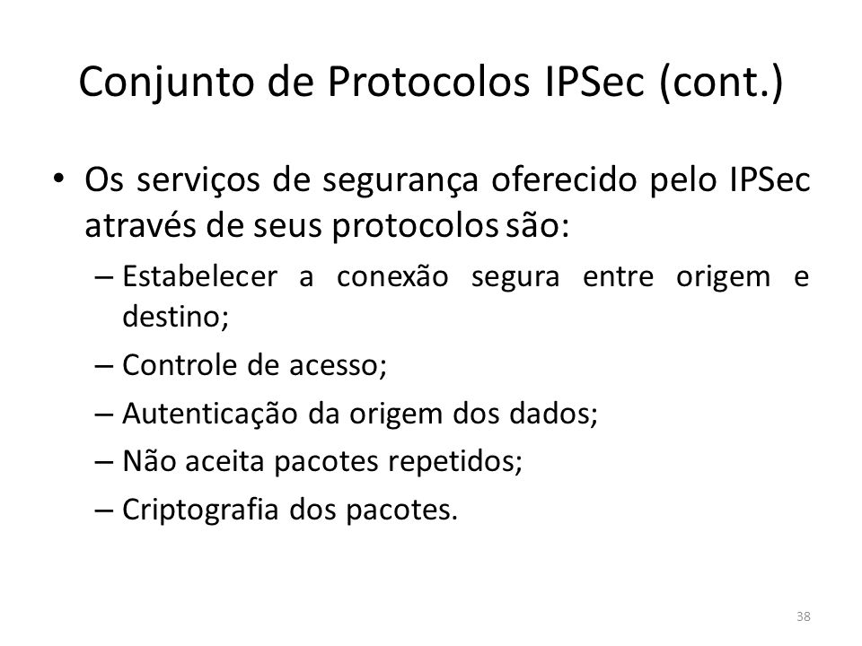 Conjunto de Protocolos IPSec (cont.)