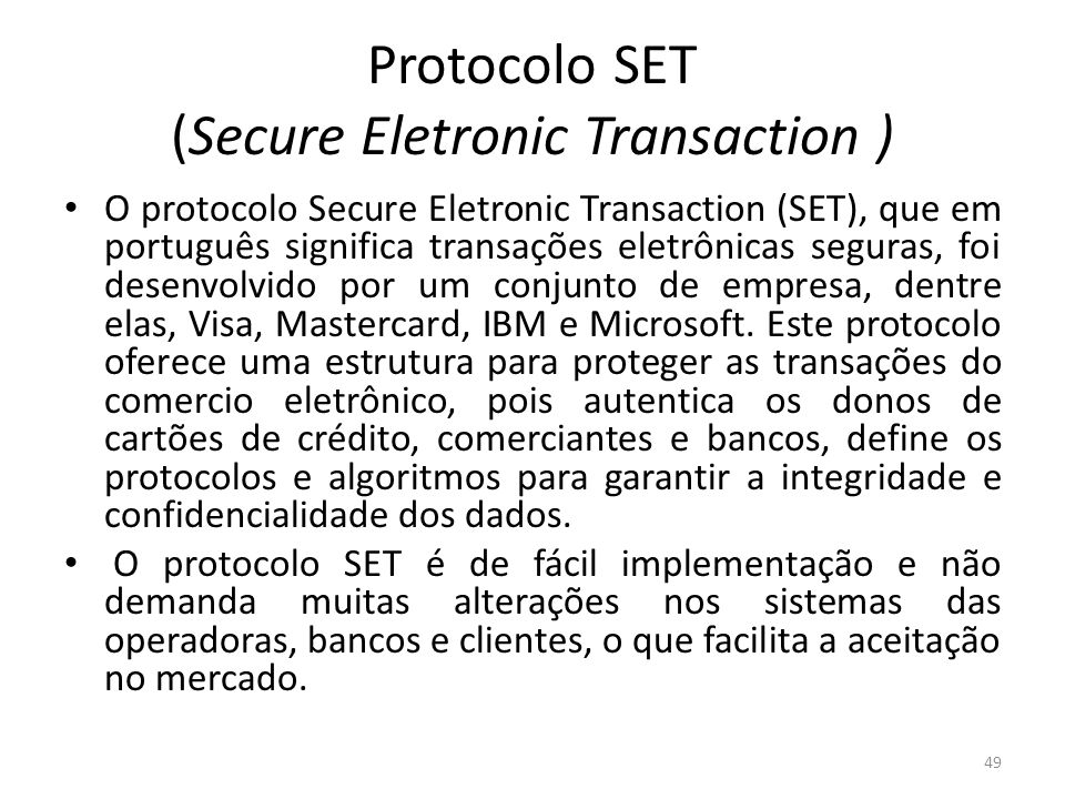 Protocolo SET (Secure Eletronic Transaction )